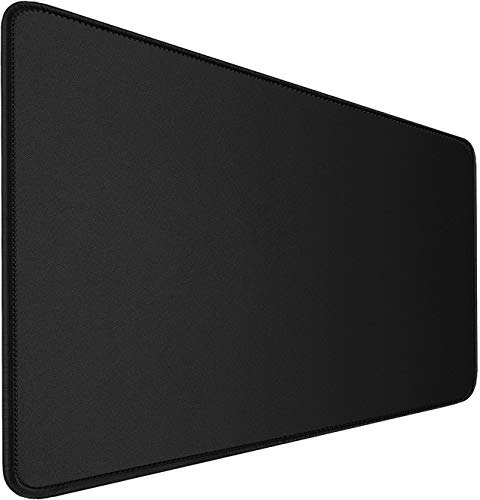 Gaming Mouse Pad, Larger Extended Computer Keyboard Gaming Mouse Mat, Water-Resistant, Non-Slip Base, Durable Stitched Edges Mousepad Desk Pad for Gamer, Office & Home,Work, 31.5'x11.8'x0.12', Black