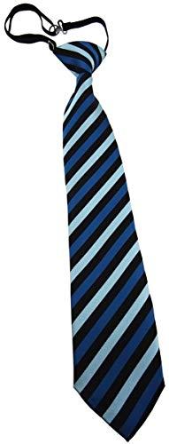 TigerTie Kinderkrawatte in blau petrol türkis schwarz gestreift - Krawatte vorgebunden mit Gummizug