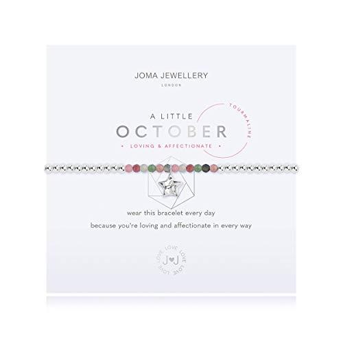 Joma Jewellery A Little October Tourmaline Birthday Silver Bracelet | 17.5cm Stretch