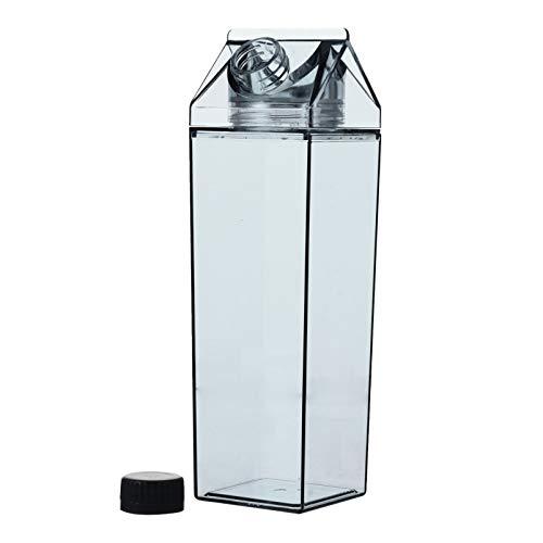 Hemoton 500Ml Schwarze Milchkarton Wasserflasche Tragbare Quadratische Auslaufsichere Wasserflasche Saft Getränk Getränkeflasche für Outdoor-Sportaktivitäten