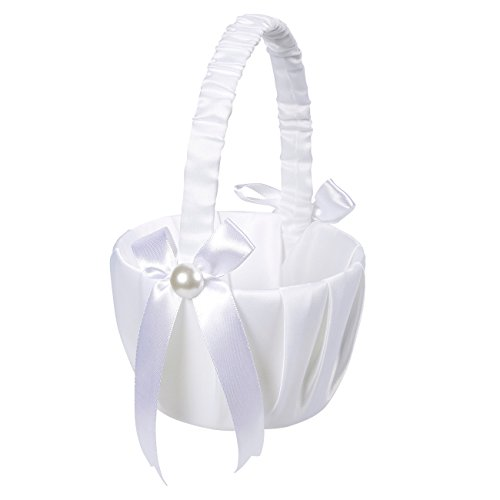 Juvale Flower Girl Basket – White Flower Basket, Wedding Basket Matrimony Processions, Cute Satin Holder Rose Petals, Reception Decoration, White, 8.7 x 5.2 x 4.2 inches