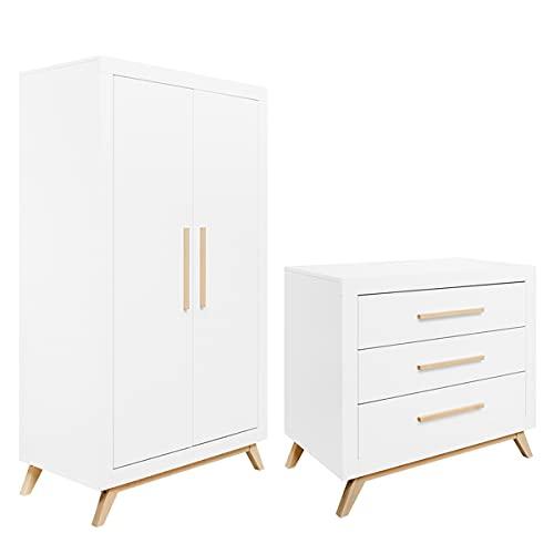 Commode à langer et armoire 2 portes Fenna - Blanc et bois naturel