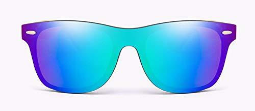WSKPE Gafas De Sol La Madera De Bambú Hombres Mujeres De Moda Gafas Gafas De Sol De Espejo Recubrimiento Tonos Vintage Eyewear Uv400 (Púrpura Azul Cristalino)