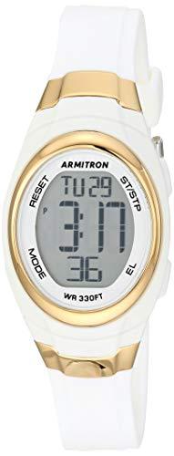 Armitron Sport Women's Quartz Sport Watch with Resin Strap, White, 12 (Model: 45/7034GLD)