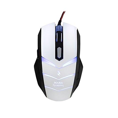 Mars Gaming MMZE1 - Ratón gaming para PC (5000 DPI, sensor óptico Avago, iluminación LED en 7 colores, 6 botones gaming, efecto respiración, aceleración 20 G, ambidiestro), color blanco y negro