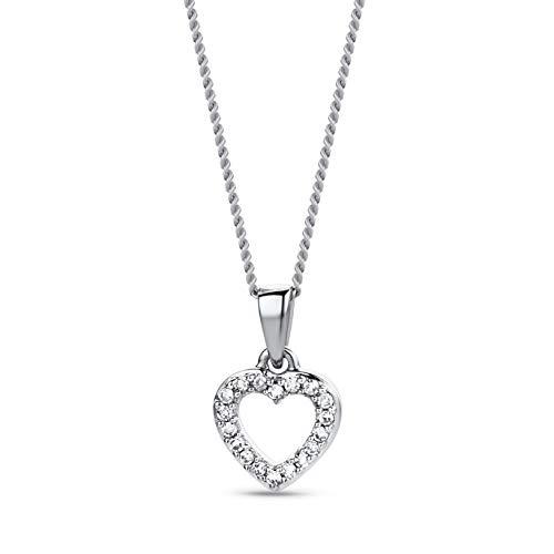 Orovi Collar Señora Corazón con cadena en Oro Blanco con Diamantes Talla Brillante 0.05 ct Oro 9 Kt / 375 Cadena 45 Cm