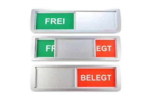 10 grandes letreros deslizantes vacantes/ocupados 'FREI/BELEGT' - 17.5 x 5 cm - Letrero con función deslizante para indicar el estado de una habitación - Adhesivo trasero de la marca de calidad 3M