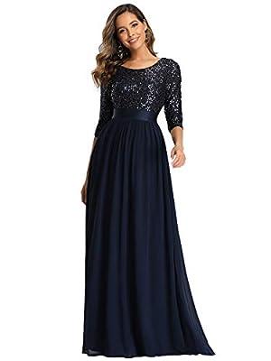 Ever-Pretty Evening Dress for Women Formal Long Bridesmaid Dress Navy Blue US16