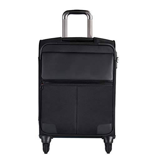 Adlereyire Trolley Suitcase Lightweight Durable Carry On Cabin Hand Luggage Set, Travel Bag with 4 Wheels (Color : Black, Size : 44 * 26 * 76cm)