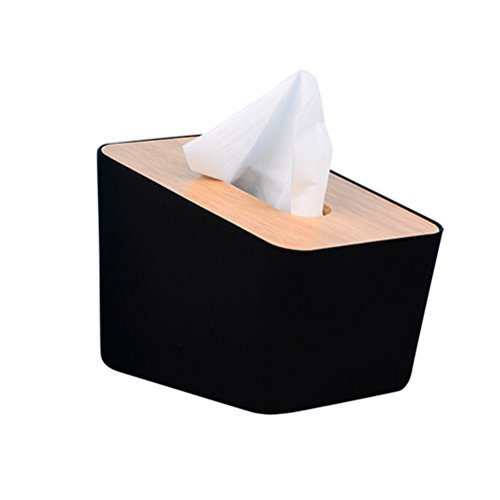 VORCOOL - Caja de pañuelos de madera con tapa para la oficina de la casa, color negro