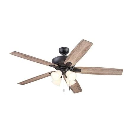 Amazon Com Harbor Breeze 62 In 4 Light Ceiling Fan Bronze 5 Wood Blades And Led Bulbs Included 42070 Kitchen Dining
