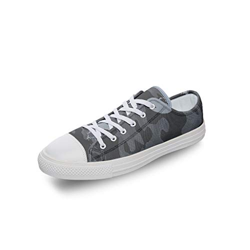 WEIFLY Unisex Women Adults Black and White Camouflage Printed Sneakers Breathable Custom Gym Athletic Shoes Flats for Students white2 44