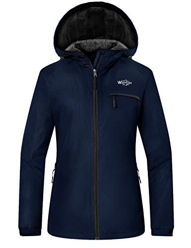 Wantdo Femme Veste de Ski Outdoor Veste Imperméable Coupe-Vent Manteau d'hiver Chaud avec Capuche Amovible Veste Sport Randonnée Coupe-Vent Bleu Marine S