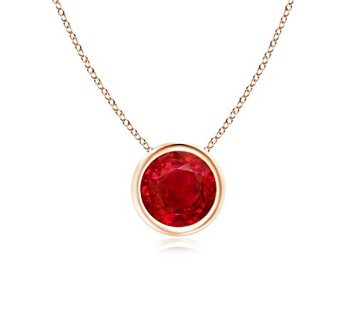 Bezel Set Created Ruby Pendant Necklace in 14k Yellow Gold (7mm), 18'