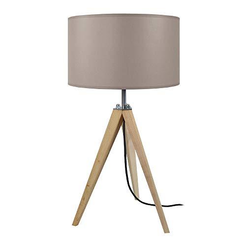 Tosel 64870 Structure Lampe Tissue, Hêtre Massif, Abat-Jour Coton, E27, 40 W, Bois naturel et taupe, 30 x 56 cm