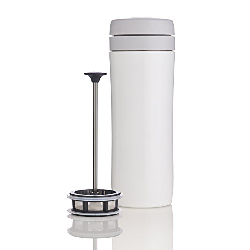 ESPRO Reise-French Press Travel Press, Mini Tea Maker mit Thermo-Funktion, Edelstahl, Tee to go, 350ml, weiß