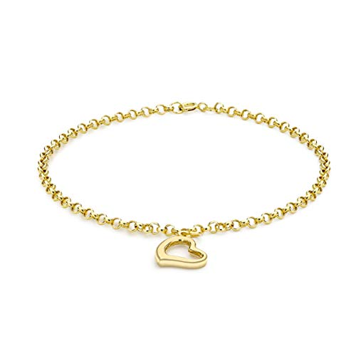 Carissima Gold Women's 9 ct Yellow Gold Heart Charm 2 mm Round Belcher Chain Bracelet of Length 18 cm/7 Inch