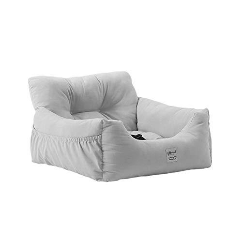 NIBESSER Autositz für Hunde 2-in-1 Autositz und Bett Haustier Sitzerhöhung Wasserdicht Faltbar Atmungsaktiv Weich Hundekorb mit Sicherheitsgurt (grau,L-60 * 50 * 36cm)