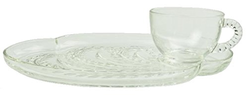 Federal Glass Homestead / Hospitality Snack Set ( Blue Box ) ( Cups & Plates ) ( 8 Piece / Set of 4 )