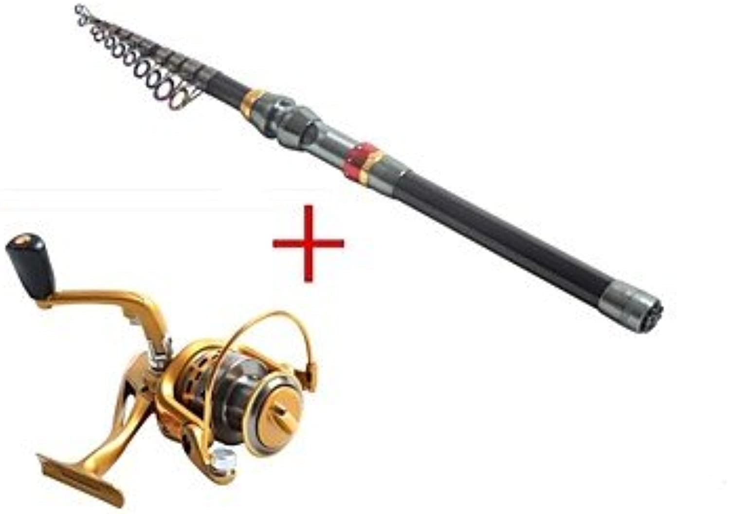 RTS Telespin Rod Fishing Rod + Reel Fishing Rod Telespin Rod Carbon 360 M Sea Fishing Rod & Reel Combos Black