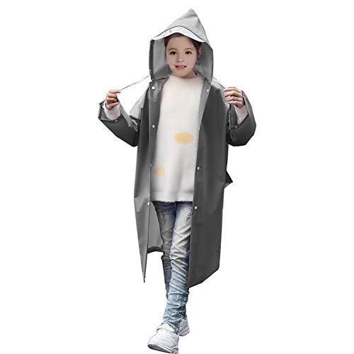 Kitbeez Kinder Regenmantel. Kids rain Coat, Kleinkind Kinder Regenmantel, Kinder Kleinkind Regenbekleidungsjacke, Regenponcho für Jungen Mädchen (Grau, M)