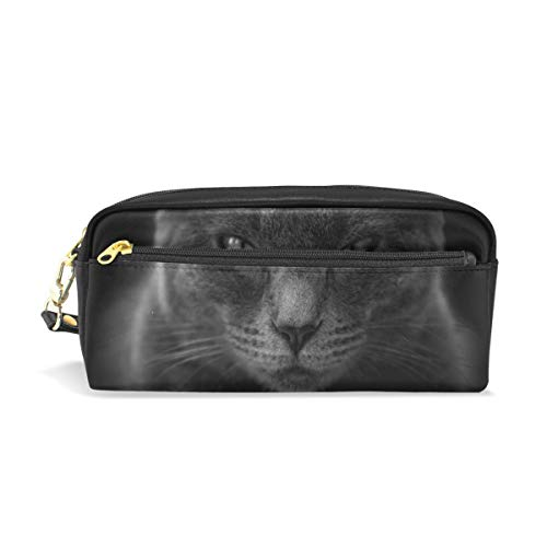 Pencil Case Stylish Print Cat Moody Angry Close Up Black and White Cat Eyes Art Pattern Large Capacity Pen Bag Makeup Pouch Durable Students Stationery Two Pockets with Double Zipper