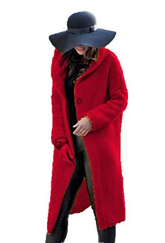 Herbst Winter Frauen Casual Loose Long Cardigan Sweater Jacke Mit Kapuze