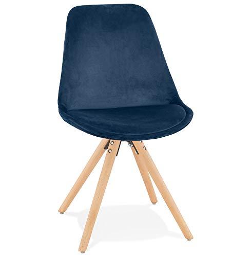 Silla de diseño para comedor, cocina Firenza en terciopelo azul y patas de madera natural