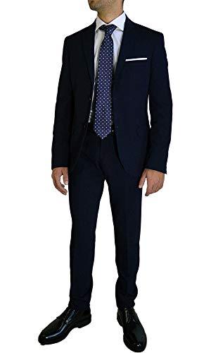 PF Abito Completo Uomo Sartoriale Vestito Elegante e da Cerimonia Slim Fit Made in Italy - Tg 62 - Blu