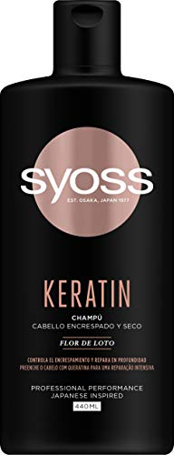 Syoss - Champú Keratin, 440 ml, Para cabello encrespado y