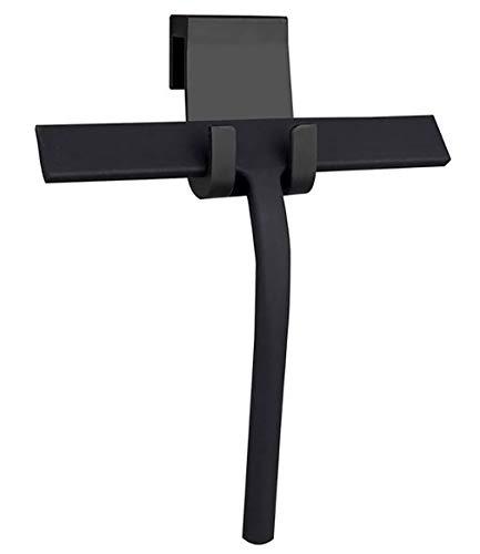 Escobilla de ducha de silicona para escobilla de baño de 28 cm con gancho de silicona para escobilla de baño, escobilla para puerta de ducha con gancho de silicona, color negro
