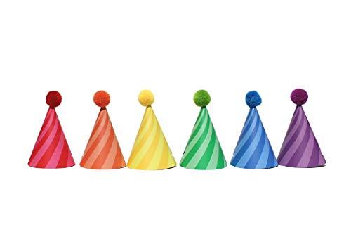 Sweet Rainbow - DIY Mini Party Hats   12 Pack   Birthday Hat   Tiny Hat   Pom Pom Detail   Rainbow   Candy Swirl, Stripes   Rainbow Birthday Hat   Candy Shop Theme   Kids Party Hat