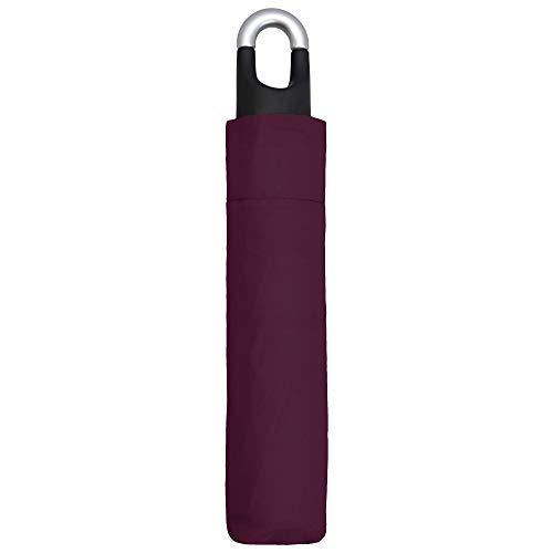 Susino paraplu opvouwbaar bordeaux voor dames en heren – kleine paraplu met 30 cm lengte – wandelscherm met karabijnhaak – ideaal voor reizen in de bergen – bordeaux