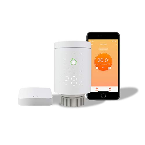 KETOTEK Valvola Termostatica per Termosifoni WiFi & Zigbee 3.0 Gateway Hub, Termostato Radiatore Valvola Smart Compatibile Alexa Echo/Google Home/Tuya Smart Life App