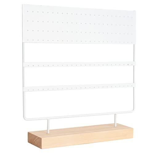 YUZE Soporte de exhibición para pendientes, caja de almacenamiento colgante con bandeja de 144 agujeros adecuado para mesita de noche tocador y baño (blanco)
