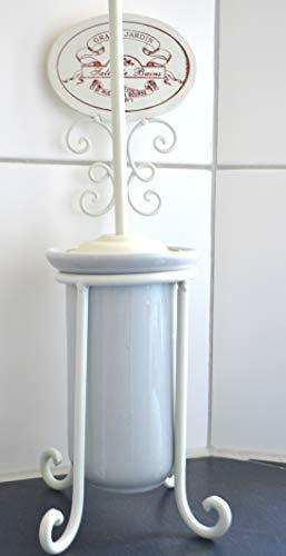 Maison en France Bürstengarnitur Toilette- schicker Toilettenbürstenhalter mit Bürste + Ersatzbürste-Porzellan-weiß-Landhausstil-