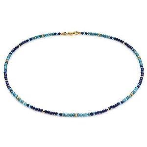 """Edelstein Collier hochwertige Goldschmiedearbeit mit Lapislazuli und Apatit""""Blue Spirit"""" (Sterling Silber 925, vergoldet) Edelsteinkette, Damen Kette Collier"""