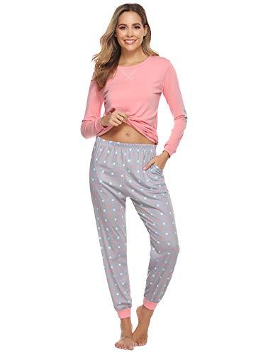 Aibrou Schlafanzug Damen Langarm Pyjama Baumwolle Weinachten Winter Nachtwäsche Sleepwear Set