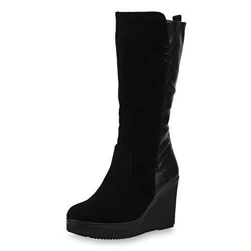 SCARPE VITA Damen Stiefel Keilstiefel Gefütterte Keilabsatz Schuhe Plateau Boots High Heels Leder-Optik Wedges Prints 187503 Schwarz Velours 41