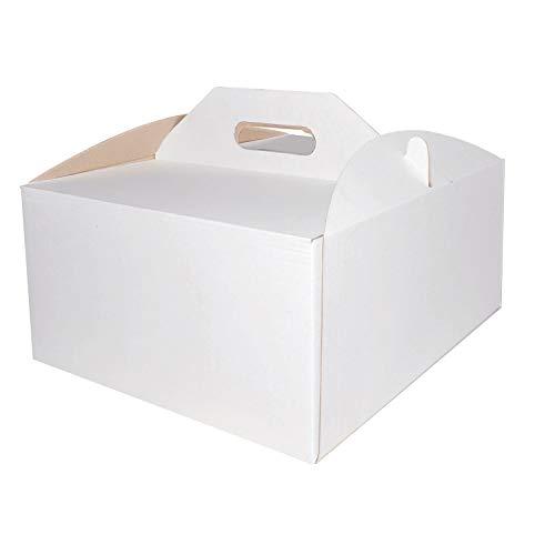 Cajas de cartón cuadradas blancas para tartas, cajas de cartón para llevar con asas, cajas de almacenamiento, cajas de regalo para fiestas, cumpleaños, bodas, vacaciones (10 cajas)