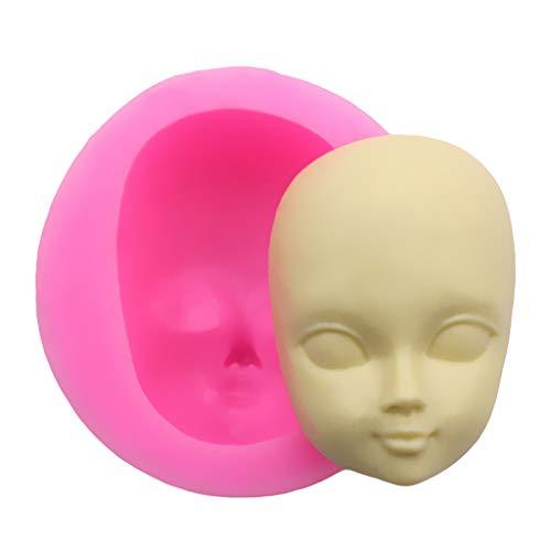 Hasiky Molde de silicona 3D para decoración de la cara de la niña, forma de cara de bebé, arcilla polimérica