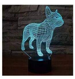 3D Hunde französische Bulldogge Illusion Nachtlicht Lampe 7 Farben ändern LED-Streifen USB-Spielzeug für Kinder Dekoration Geschenk