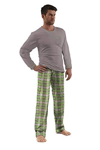 e.VIP® Pijama para hombre Luke 326 de puro algodón. gris/verde XXX-Large