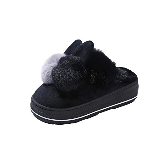 Nikai Slipper Memory Foam Pluche Verwarming, Winter harige warme cartoon thuis dikke bodem antislip warme Baotou katoen slippers vrouwen
