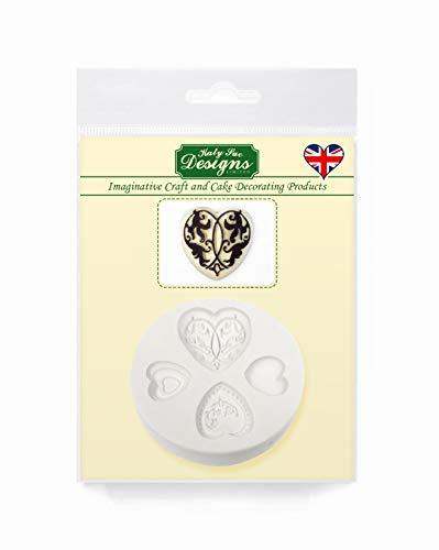 Elegante harten taart verfraaiing siliconen mal voor taart decoratie, ambachten, cupcakes, suikerwerk, snoepjes, chocolade, kaarten maken en klei, voedselveilig goedgekeurd, gemaakt in het Verenigd Koninkrijk