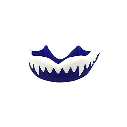Mundschutz / Zahnschutz - Für Boxen, MMA, Rugby, Kickboxen, Judo, Karate, Hockey & Kampfsport. Sportmundschutz mit Praktischer Aufbewahrungsbox. Schützt Zähne, Zahnfleisch & Kiefer. (Blau und weiß)