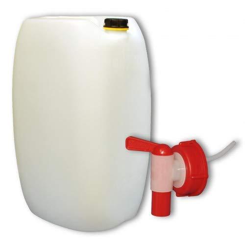 plasteo 60L Getränke- Wasserkanister Behälter Kübel Bottich Naturweiß mit Schraubdeckel und Auslaufhahn | DIN 61 | Lebensmittelecht | Indoor und Outdoor | BPA Frei | Made in Germany
