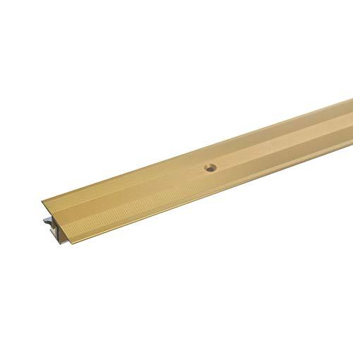 acerto Übergangsprofil Aluminium 2-teilig - 7-15mm * Rutschhemmend * Kratzfest | Übergangsleiste für Teppich-Boden Laminat & Parkett | Alu-Übergangsschiene Bodenprofil Schrauben (100, gold)