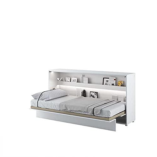 Cama plegable Bed Concept horizontal, 90 x 200 cm, color blanco lacado