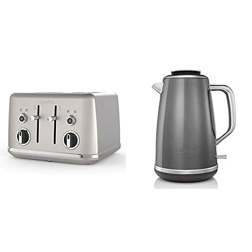 Breville Lustra 4-Slice Toaster with High Lift, Wide Slots and Independent 2-Slice Controls, Shimmer Cream [VTT851] & Lustra Electric Kettle, 1.7 Litre, 3 KW Fast Boil, Storm Grey [VKT065]
